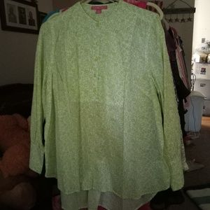 New Green Pattern Blouse, XL